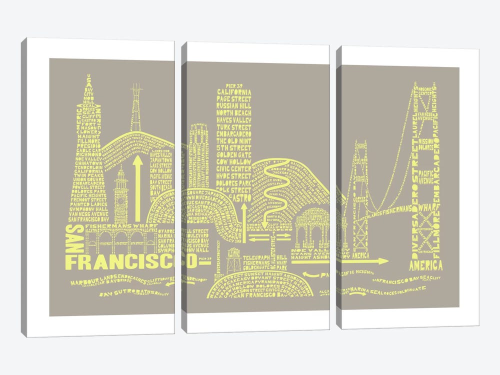 San Francisco, Stone & Faded Neon by Citography 3-piece Canvas Art