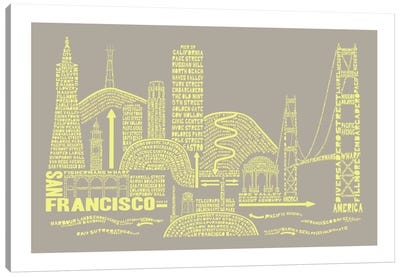 San Francisco, Stone & Faded Neon Canvas Art Print