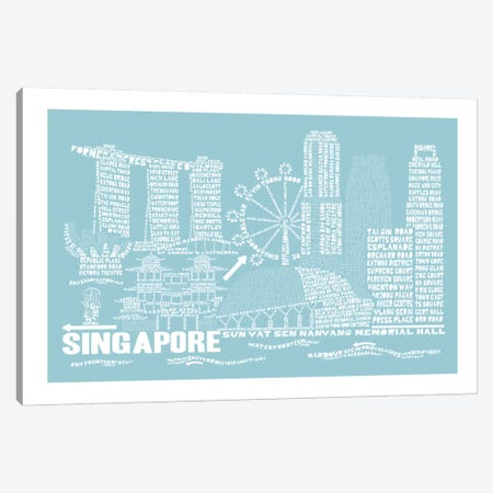 Singapore, Aqua Canvas Print #AAA77} by Citography Canvas Art Print