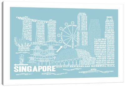 Singapore, Aqua Canvas Art Print