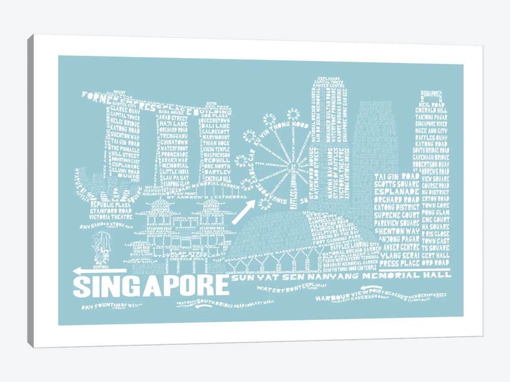Singapore, Aqua by Citography 1-piece Art Print