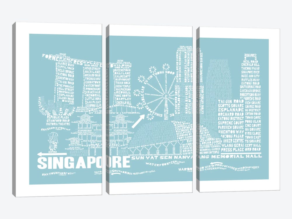 Singapore, Aqua by Citography 3-piece Art Print