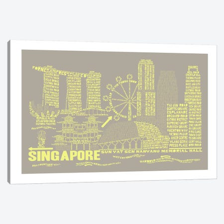 Singapore, Stone & Faded Neon Canvas Print #AAA79} by Citography Canvas Wall Art