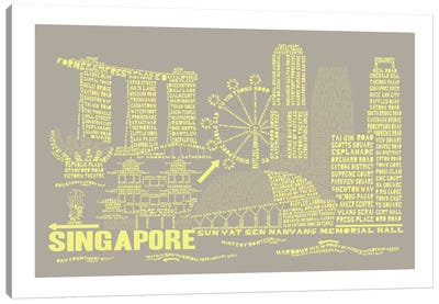 Singapore, Stone & Faded Neon Canvas Art Print
