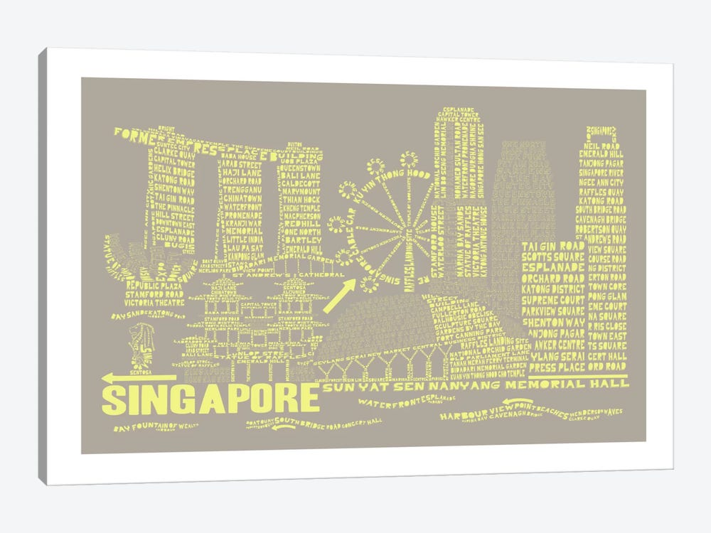 Singapore, Stone & Faded Neon by Citography 1-piece Canvas Art Print
