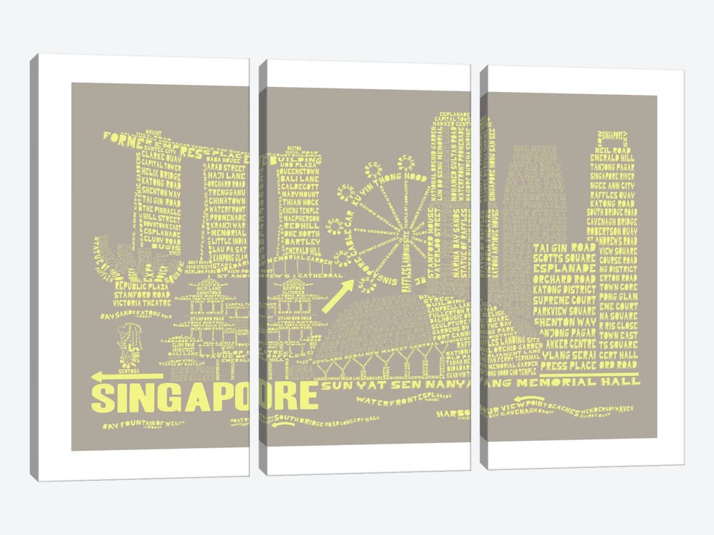 Singapore, Stone & Faded Neon by Citography 3-piece Canvas Print