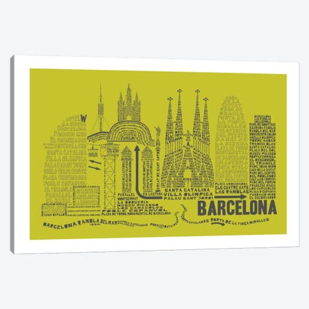 Barcelona, Lime & Gray Canvas Print #AAA7} by Citography Canvas Print