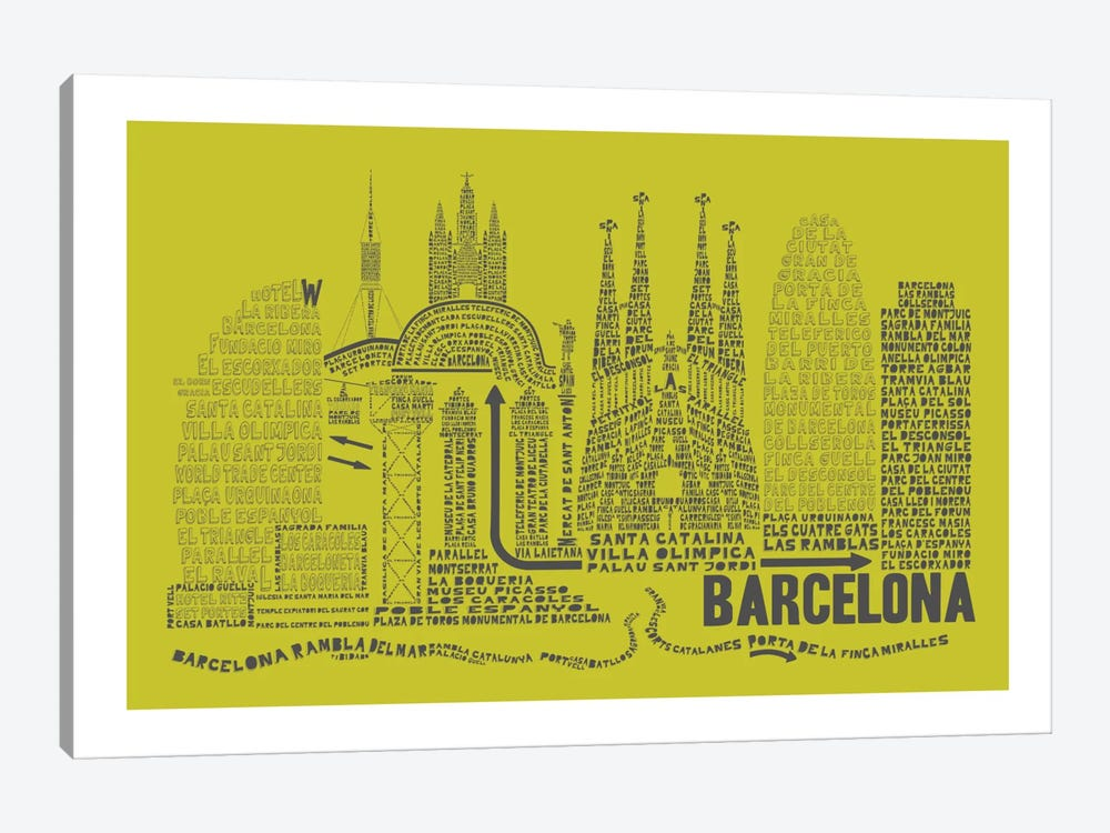 Barcelona, Lime & Gray by Citography 1-piece Canvas Artwork