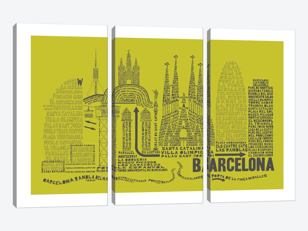 Barcelona, Lime & Gray by Citography 3-piece Canvas Wall Art