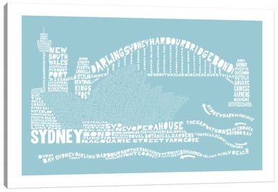 Sydney, Aqua Canvas Art Print