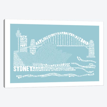 Sydney, Aqua Canvas Print #AAA80} by Citography Canvas Art Print