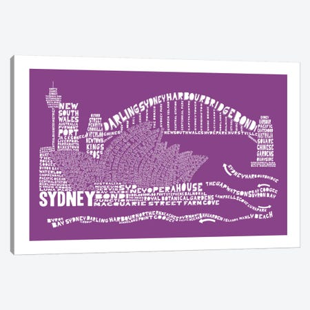 Sydney, Purple Canvas Print #AAA81} by Citography Art Print