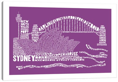 Sydney, Purple Canvas Art Print
