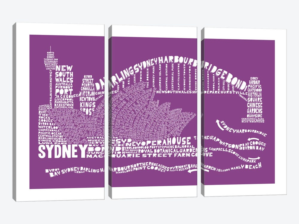 Sydney, Purple by Citography 3-piece Canvas Artwork