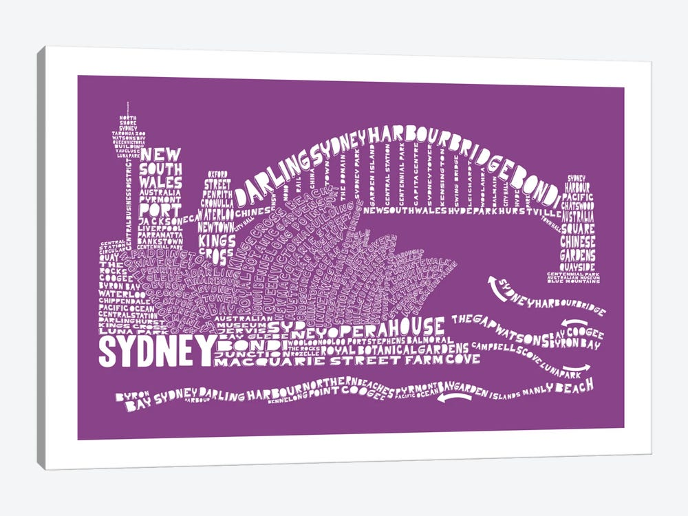 Sydney, Purple by Citography 1-piece Canvas Artwork