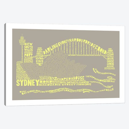 Sydney, Stone & Faded Neon Canvas Print #AAA83} by Citography Art Print