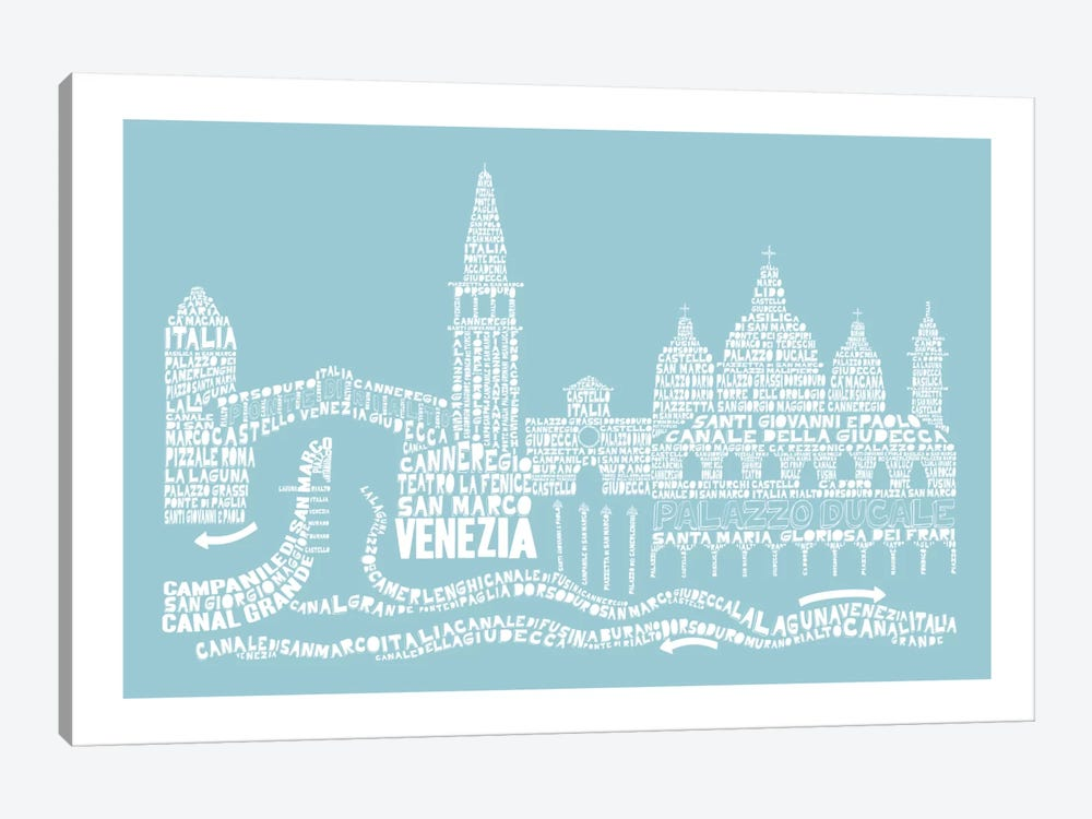 Venice, Aqua 1-piece Canvas Art Print