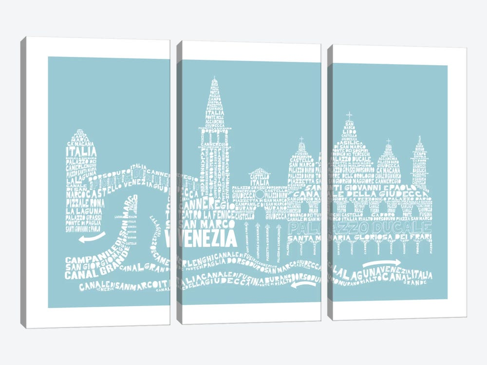 Venice, Aqua by Citography 3-piece Canvas Print