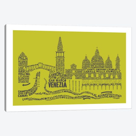 Venice, Lime & Gray Canvas Print #AAA85} by Citography Canvas Art