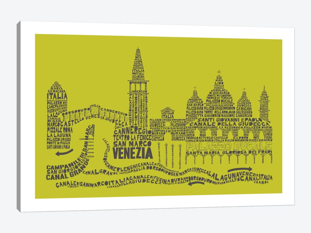 Venice, Lime & Gray by Citography 1-piece Canvas Art