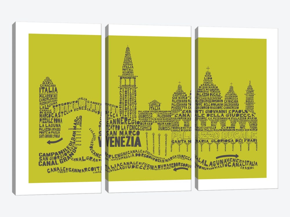 Venice, Lime & Gray by Citography 3-piece Canvas Wall Art