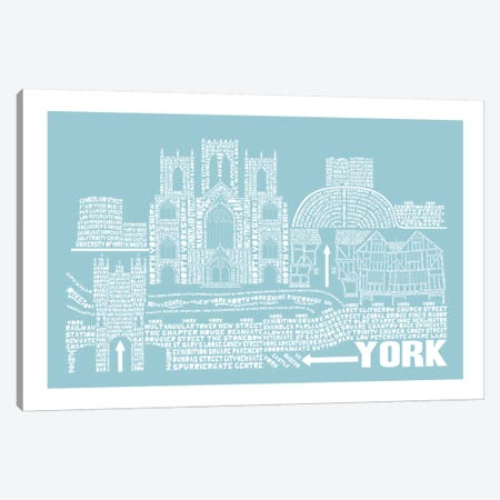 York, Aqua Canvas Print #AAA87} by Citography Canvas Art