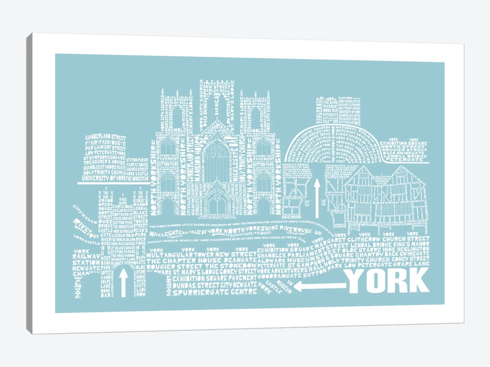 York, Aqua by Citography 1-piece Canvas Wall Art