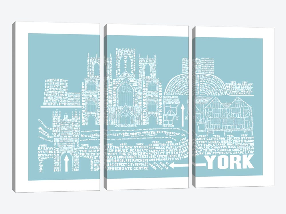 York, Aqua by Citography 3-piece Canvas Wall Art