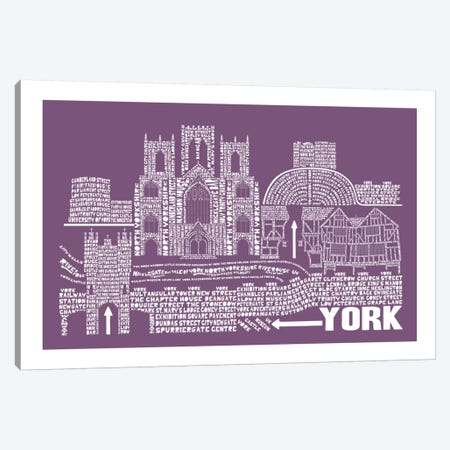 York, Faded Berry Canvas Print #AAA88} by Citography Art Print