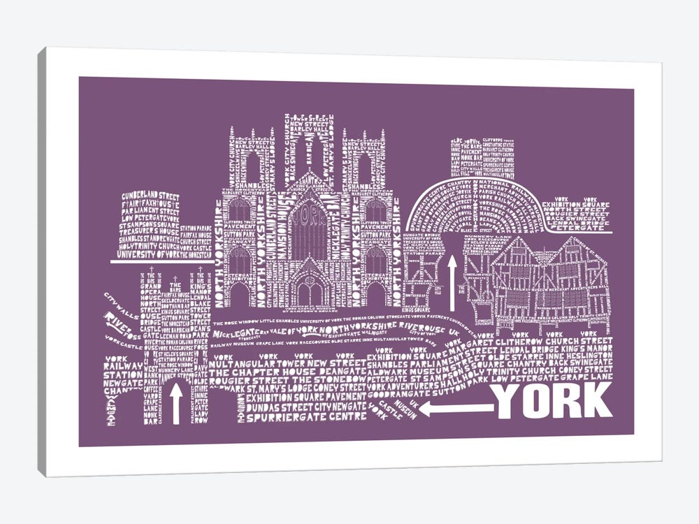 York, Faded Berry by Citography 1-piece Canvas Print