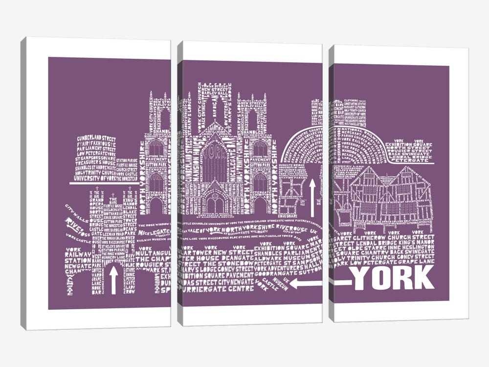 York, Faded Berry by Citography 3-piece Canvas Art Print