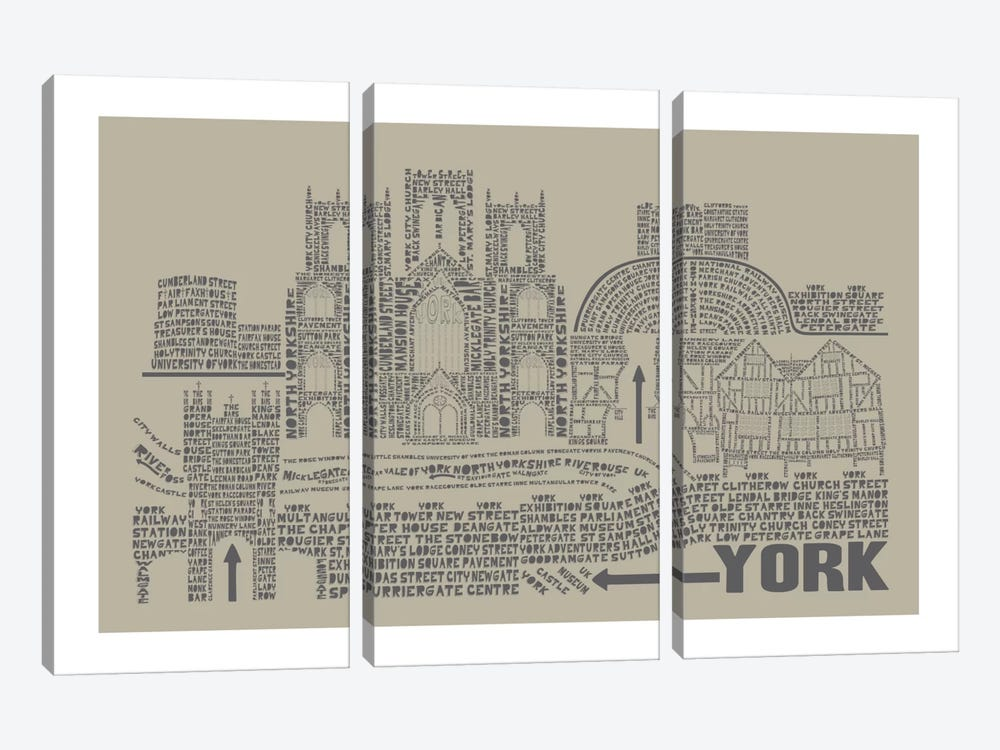 York, Sage by Citography 3-piece Canvas Art