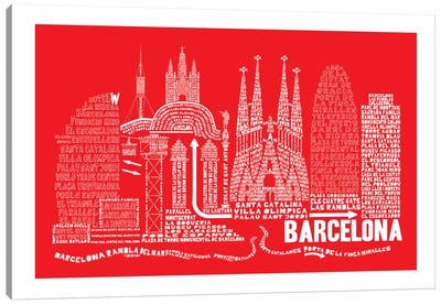 Barcelona, Red Canvas Art Print