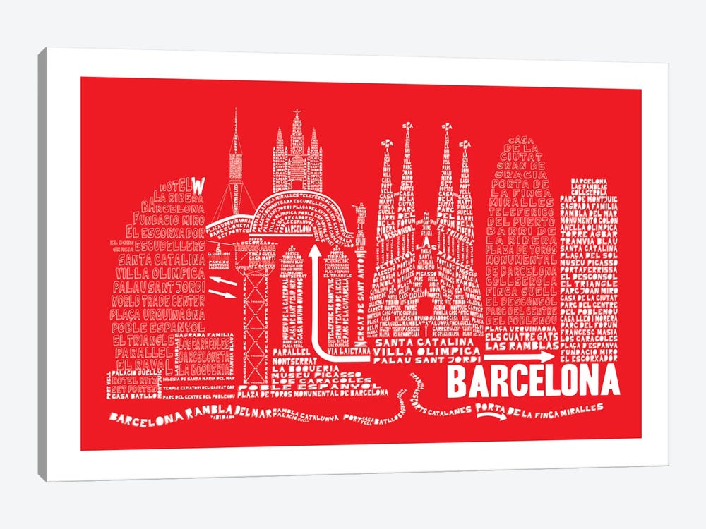 Barcelona, Red by Citography 1-piece Art Print