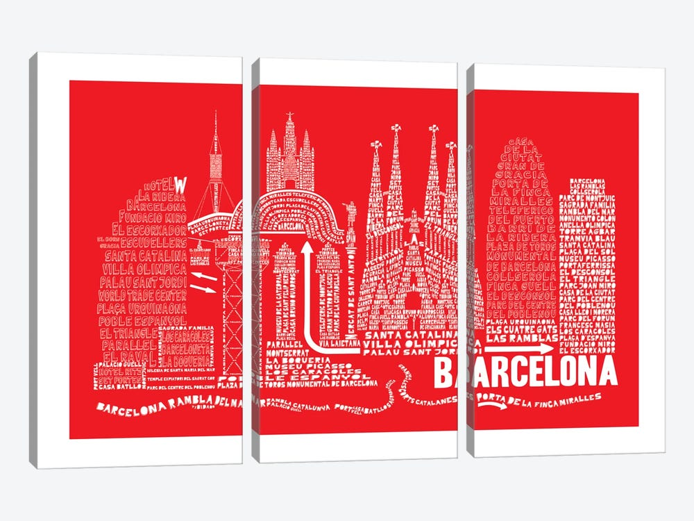 Barcelona, Red by Citography 3-piece Art Print