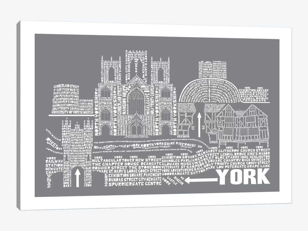 York, Slate by Citography 1-piece Canvas Wall Art