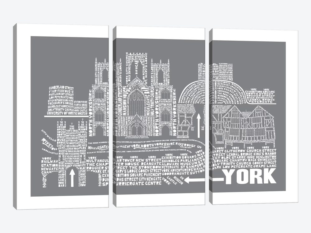 York, Slate by Citography 3-piece Canvas Art