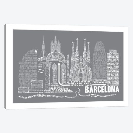 Barcelona, Slate Canvas Print #AAA9} by Citography Canvas Artwork