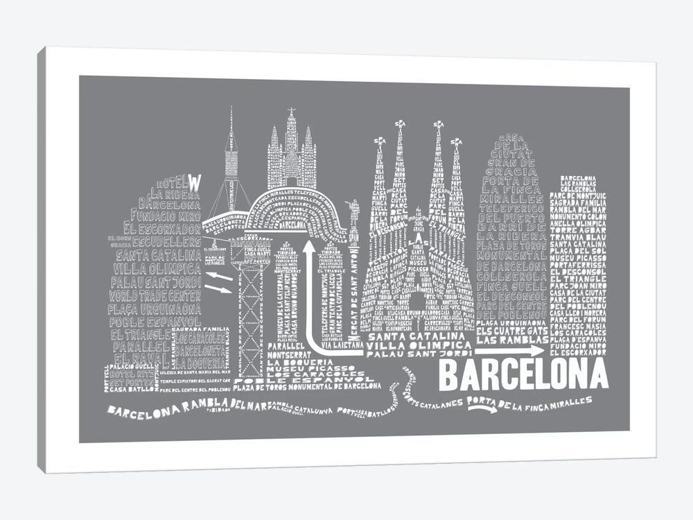 Barcelona, Slate by Citography 1-piece Canvas Wall Art