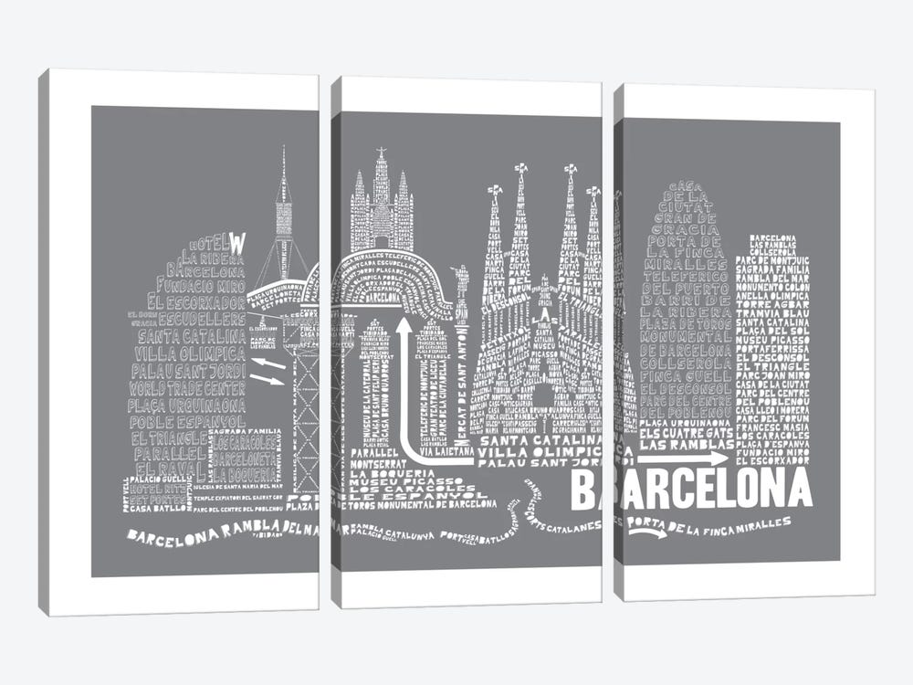 Barcelona, Slate by Citography 3-piece Canvas Art