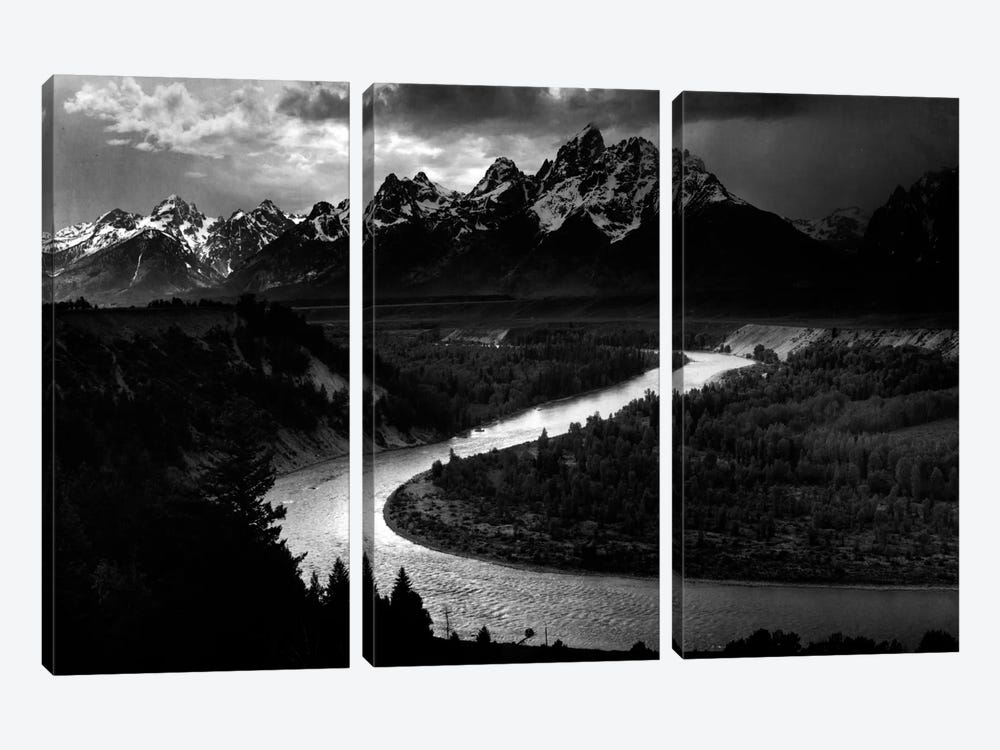 The Tetons - Snake River by Ansel Adams 3-piece Art Print