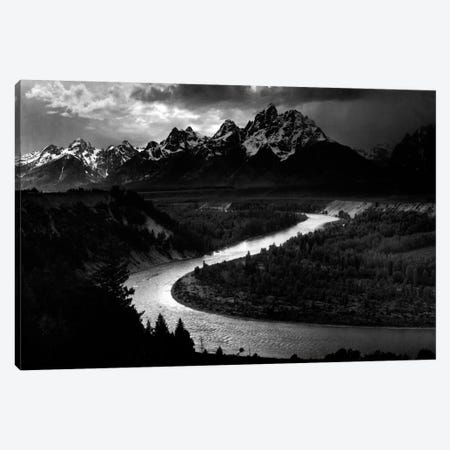 The Tetons - Snake River 3-Piece Canvas #AAD15} by Ansel Adams Canvas Art