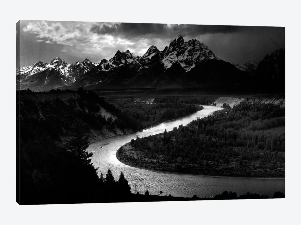 The Tetons - Snake River by Ansel Adams 1-piece Canvas Print