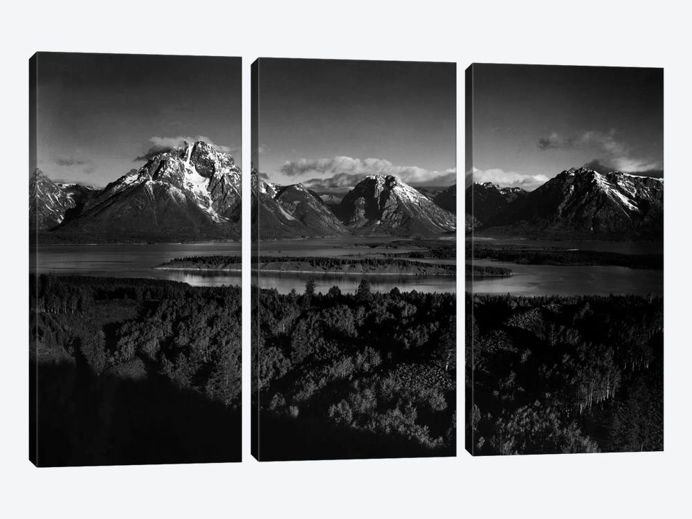 Mt. Moran and Jackson Lake from Signal Hill by Ansel Adams 3-piece Canvas Artwork