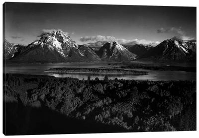 Mt. Moran and Jackson Lake from Signal Hill Canvas Print #AAD21