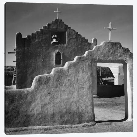 Church, Taos Pueblo, New Mexico, 1941 Canvas Print #AAD28} by Ansel Adams Canvas Wall Art