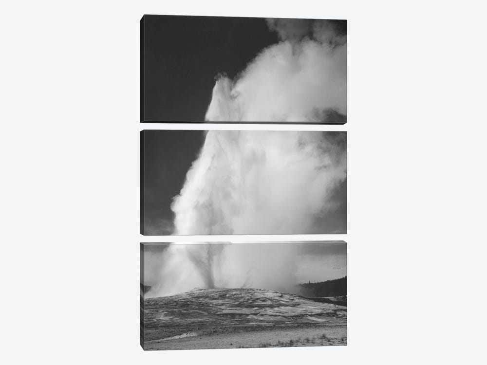 Old Faithful Geyser, Yellowstone National Park by Ansel Adams 3-piece Canvas Artwork