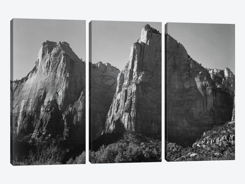 Court of the Patriarchs, Zion National Park by Ansel Adams 3-piece Canvas Wall Art
