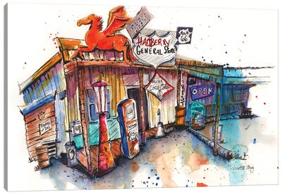 Route 66 Series Gas Station Canvas Art Print