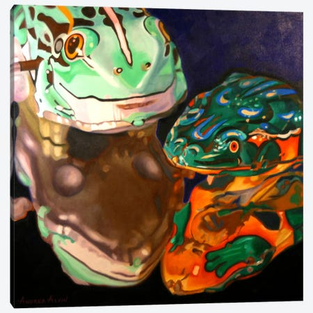 Tin Frogs Canvas Print #AAL27} by Andrea Alvin Art Print